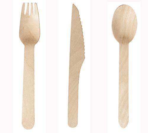 Don Palillo - 300 pcs. Cubiertos de Madera desechable. - Juego de 100 Cucharas + 100 Tenedores + 100 Cuchillos. 100% Natural, Ecológico, Biodegradable