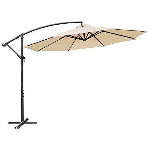 CHOICEHOT 10' Offset Hanging Patio Umbrella with Cross Base Outdoor Patio Garden Market Umbrella Cantilever Umbrella for Backyard, Deck and Pool - Beige