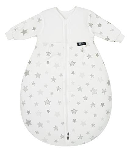 Alvi Schlafsack Mäxchen Thermo mit Arm | Babyschlafsack ÖKO-TEX zertifiziert | Alvi Außensack mit Arm | Winterschlafsack 3,0 TOG, Größe:90, Design:Silver Stars silbergrau 786-9