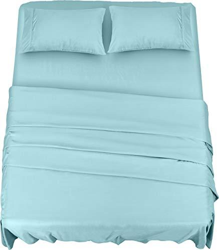 Utopia Bedding Juego Sábanas de Cama - Microfibra Cepillada - Sábanas y Fundas de Almohada (Cama 150, Azul Agua)
