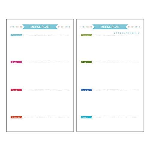 STOBOK Papel de recarga de 6 agujeros para A6 Carpeta de anillas, Calendarios, Agendas y Organizadores Personales Semanal Mensual Lista de planes Insertar papel 160 hojas