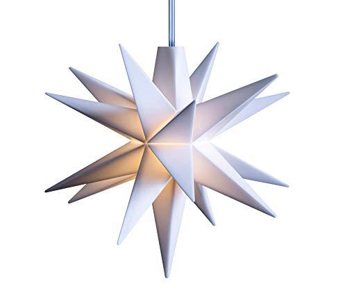 3D LED Stern Ø 8 cm Weihnachtsstern Batterie Ministern Innen Kunststoff Stern klein Leuchtstern Deko für innen Indoor von Dekowelt (Weiß)