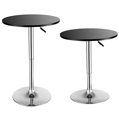 Costway Modern Round Bar Table, Cocktail Table Adjustable Bistro Pub Counter Wood Top Swivel Indoor (1)