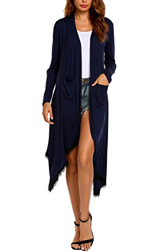 Material:These Long cardigans are made of cotton and polyester rayon,which is lightweight soft and comfortable fabric Feature: The womens long cardigan is waterfall,long sleeve,open front,side slit hem,draped,and long maxi length Occasion:This long m...