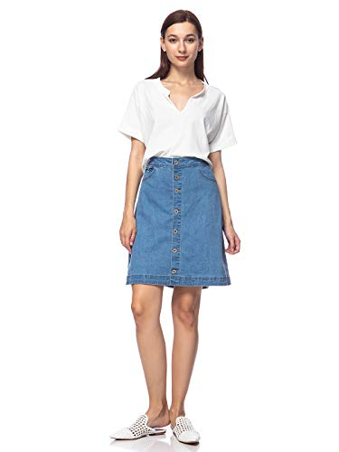 ANNA-KACI Womens Vintage Stretch Denim Jean Button Flare Rok met zijzak