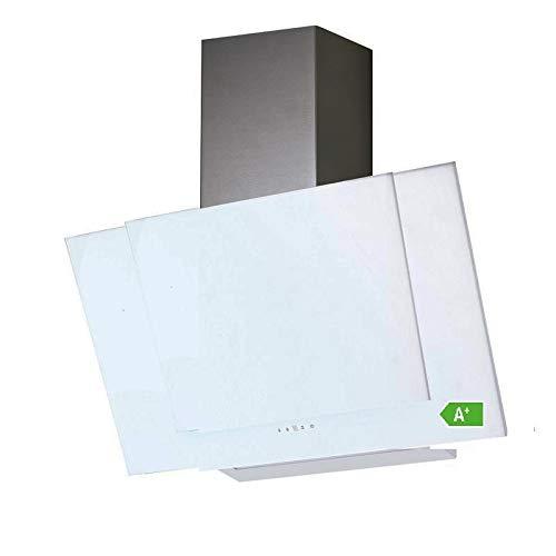 VLANO VALIO 600 WH EEK A+ Kopf-freie Dunstabzugshaube Glas Design/Touch Control/ECO LED/Extra leiser Brushless Motor/Abluft/Umluft (VALIO 60 cm, weiß)