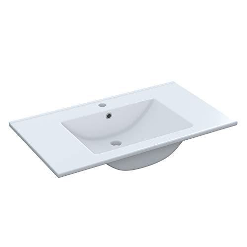 ARKITMOBEL 305950O - Lavabo Ceramica Color Blanco, Pila lavamanos Rectangular baño, Medidas: 81,5 cm (Largo) x 18 cm (Alto) x 46 cm (Fondo)
