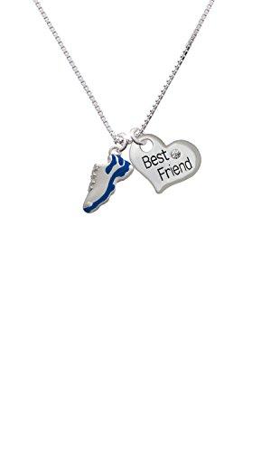 Cheer Bunny Blue Running Shoe - Best Friend Heart Necklace