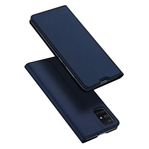 DUX DUCIS Hülle für Samsung Galaxy A71, Leder Klappbar Handyhülle Schutzhülle Tasche Hülle mit [Kartenfach] [Standfunktion] [Magnetisch] für Samsung Galaxy A71 (Blau)