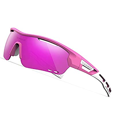 TOREGE Polarized Sports Sunglasses with 3 Interchangeable Lenes for Men Women Cycling Running Driving Fishing Golf Baseball Glasses TR33 Storm Chaser (Matte Pink&White&Purple Lens)