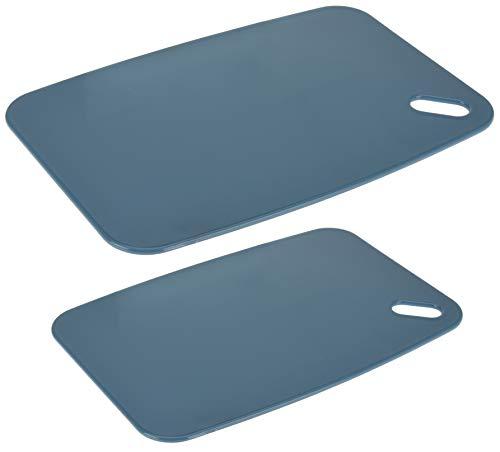 MIK Funshopping 2-TLG - Juego de tablas de cortar de plástico, no daña la hoja y se puede lavar en el lavavajillas, 35 x 24 cm, 30 x 20 cm, color gris azulado