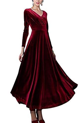 Sevozimda Damen Samt Kleider Lang Langarm V-Ausschnitt Elegant Party Maxi Kleid Red L