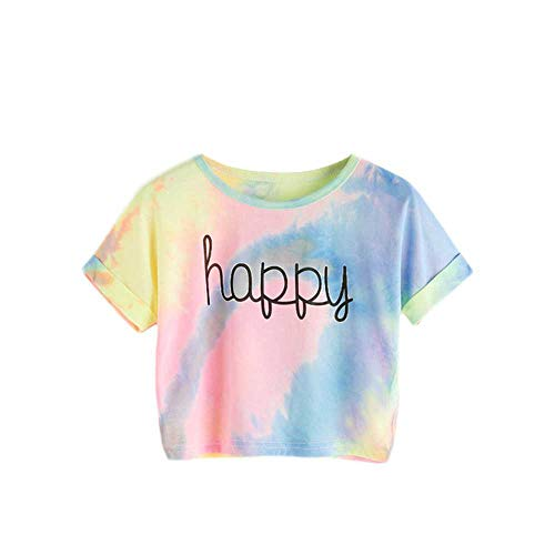 Happy Letter Printed Tie Dye Print Knoten Front Casual Mädchen T-Shirts Kinder Sommer Cap Sleeve Colorblock Kinder Casual Tees