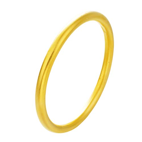 Amosfun - Pulsera de latón macizo, dorada, redonda, curvada, para niñas, mujeres, tamaño 60 mm