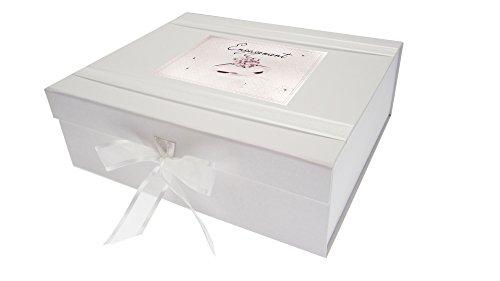White Cotton Cards–Caja de Recuerdo de Anillo Compromiso Diamante, Madera, tamaño Grande, Color Blanco