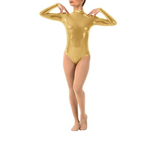 Body de Manga Larga Mujer, Cuello Alto Body Cuero Spandex Metálico Leotardo Baile Ballet Mono Gimnasia Traje Dorado L