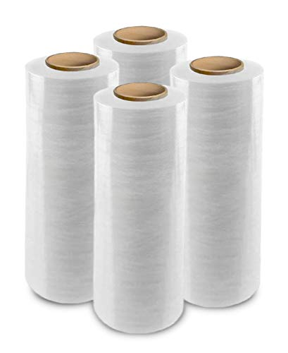 """enKo 18"""" Stretch Wrap 80 Gauge 1500 feet - Industrial Strength Pallet Wrap Stretch Film for Moving, Shipping, Packaging - Durable Self-Adhering Cling Wrap Heavy Duty Shrink Wrap Roll (4 Pack, Clear)"""