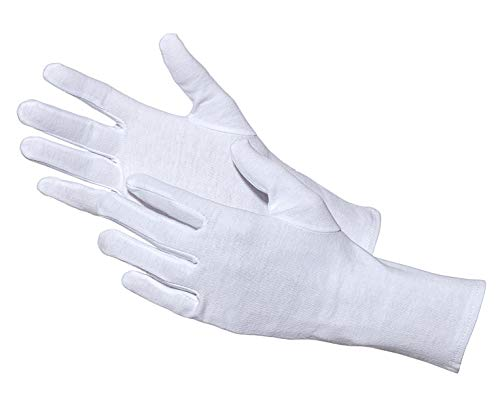 Jah 3203 - Guanti in cotone, 12 paia di Oekotex leggeri, taglia 7, colore: Bianco