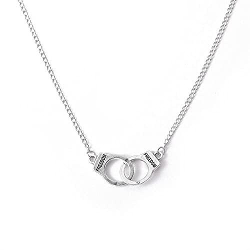 Collar de esposas de moda retro europea y americana, pulsera de letras populares simples, cadena de clavícula - Ancient_silver_60_cm