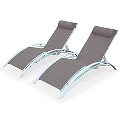 Alice's Garden - 2 Aluminium and textilene sun loungers reclining garden chair beach sun lounger recliner, brown from Alice's Garden
