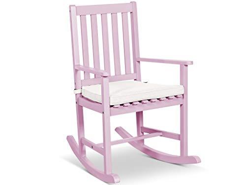 LANTERFANT – Schaukelstuhl Noor, Gartensessel, für drinnen und draußen, Akazien Holz, in DREI Farben Erhältlig, lackiert, Rosa