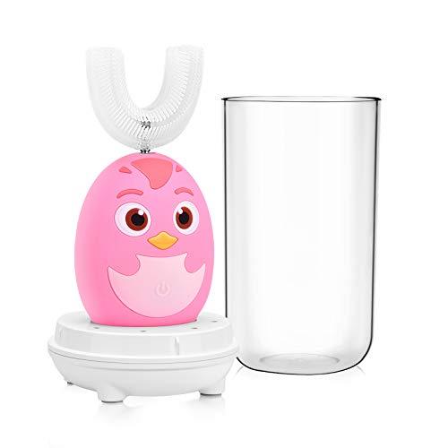 Cepillo de Dientes Eléctrico para Niños,Kriogor IPX7 a Prueba de Agua Forma de U Silicona Cepillo de Dientes Inteligente,Cepillo de Dientes Limpiador Recargable USB con 3 Funciones.(2-6 años-Rosado)