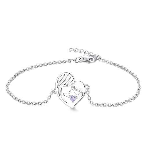 YL Mutter und Tochter Armband 925 Sterling Silber geschnitten Juni Geburtsstein Alexandrit Herz Armband für Mama Damen
