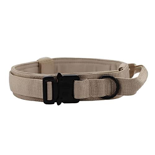 Bekasa Collar de tracción para perro, collar militar y correa con hebilla de metal resistente, ajustable, transpirable, para entrenamiento de perros medianos (Khaki)