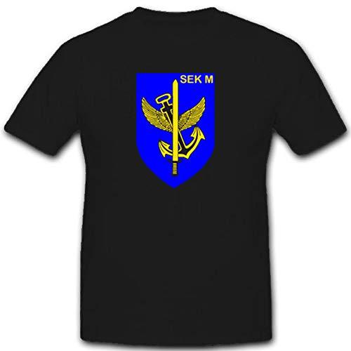 SEK M Spezialisierte Einsatzkräfte Marine Bundeswehr Militär Einheit Wappen Abzeichen - T Shirt #2655, Farbe:Schwarz, Größe:Herren 3XL