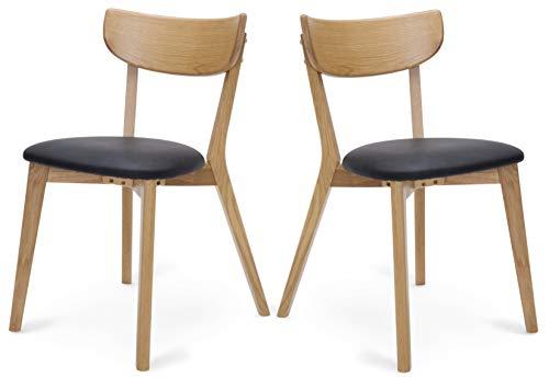 Dynamic24 2X Holzstuhl Peru Kunstleder Esszimmerstuhl Eiche schwarz Stuhl Set Küchenstuhl