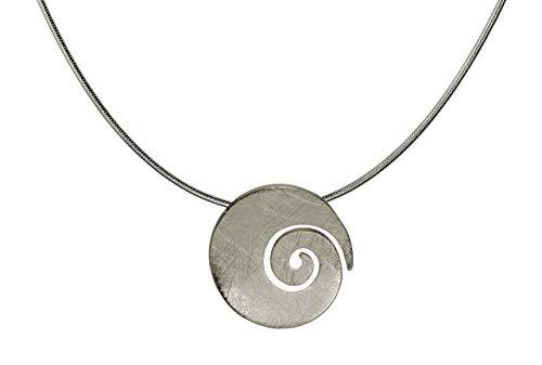 SILBERMOOS Anhänger mit Kette große Spirale Kreis rund offen gebürstet mit Schlangenkette 45 cm 925 Sterling Silber