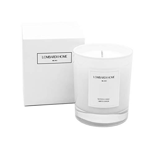 Lombardi Home Vela aromática - Vela perfumada Vainilla, 100% Cera de Soja Natural, Vegana, 8% de Esencia, aromaterapia, decoración Italiana, relajación, Regalo Navidad