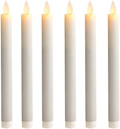 5PLOTS 9 Inch Wax Flameless Taper Candles with Moving Wick and Timers Battery Operated Flickering product image