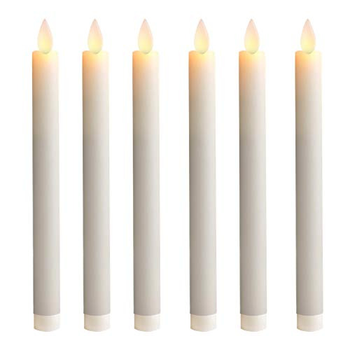 5PLOTS 9 Inch Wax Flameless Taper Candles with Moving Wick and Timers, Battery Operated Flickering LED Candlesticks for Halloween Decor, Dinner Table Centerpieces, Party Decoration, Set of 6