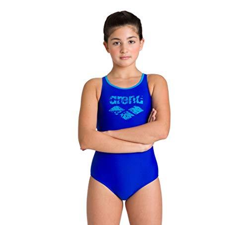 ARENA Mädchen Sport Badeanzug Spray, neon Blue-Turquoise, 140