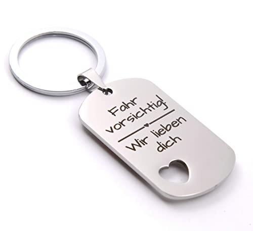 Mama Geschenke I Schlüsselanhänger mit Spruch I Geschenk für Mama von Tochter Sohn I Geburtstagsgeschenk für Mama (Fahr vorsichtig! Wir lieben Dich)