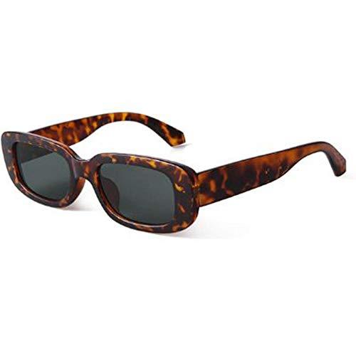 XXYQ 2020 Retro schmale rechteckige Sonnenbrille Frauen Brand Design Vintage Schildpatt Rahmen grüne Linse 90S Sonnenbrille Shades-C3 Schildkrötengrün