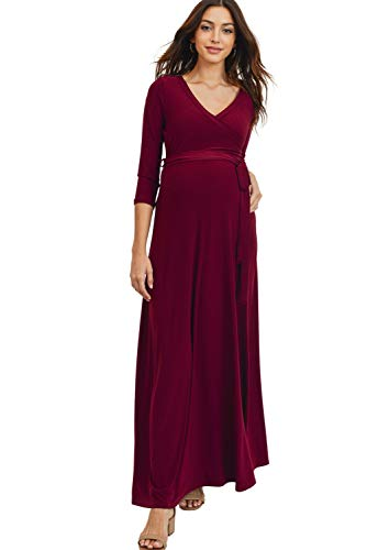HELLO MIZ Women's Faux Wrap Maxi Maternity Dress with Belt - Made in USA (¾ Burgundy Solid, M)