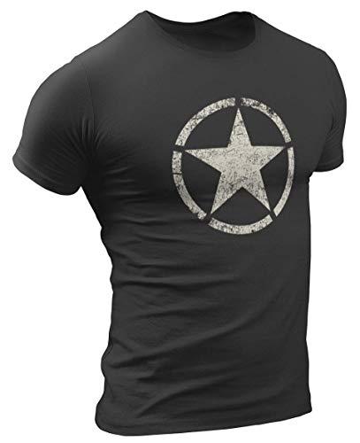US Army Vintage Star Herren T-Shirt (L, Schwarz)