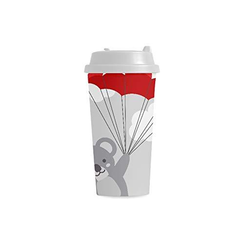 Niedliche graue Karikatur faule Koala Gewohnheit personalisierter Druck 16 Unze doppelwandiger Plastikisolierte Sportwasser Flaschen Schalen Pendler Reise Kaffeetassen für Studenten Frauen Milch