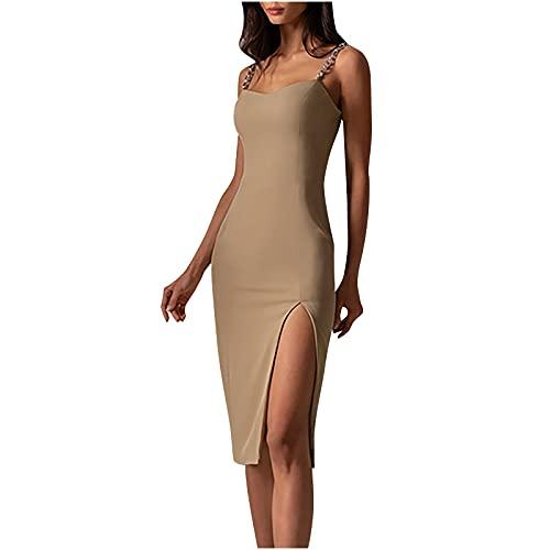 Lange Sommerkleid Damen Eng Sexy Lang Kleider Ärmelloses Wickelkleid Midi Kleid Bodycon Schlitz Sommer Rückenfrei Freizeitkleid Strandkleid Partykleider