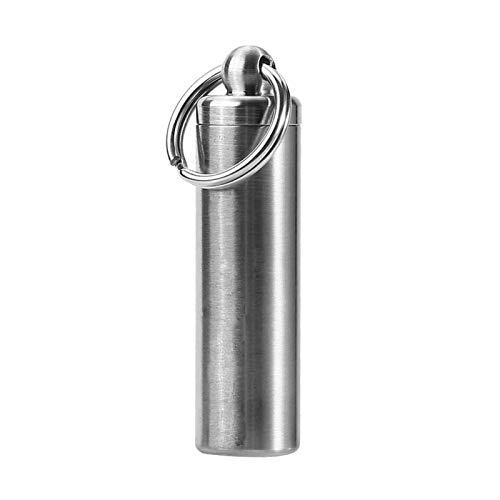 Almacenamiento de pastillas de supervivencia de acero inoxidable, botella de cápsula hermética a prueba de agua con un anillo de sellado para caminatas al aire libre