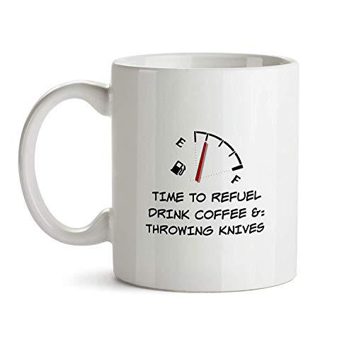 Rael Esthe Cuchillos para lanzar - Taza de Regalo - Divertido me Encanta Hacer Tiempo de mordaza para repostar café Taza de té para vacaOrker Amigo Hombres Mujeres Idea Divertida y económica