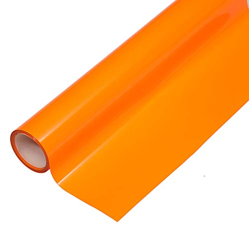 "Heat Transfer HTV Vinyl,12"" x 6.5 FT HTV Vinyl Rolls, Fluorescent Color,for Decor Sticker, Weeding Machine, Craft Cutter Machine, Printers, Letters, Car Decal, Vinyl Paper (Fluorescent Orange)"