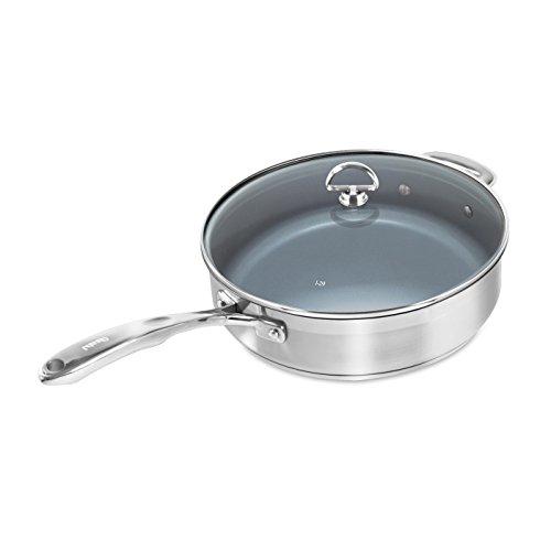 Chantal Induction 21 Stainless Steel Saute Pan, 5 Quart Skillet, Ceramic Non Stick
