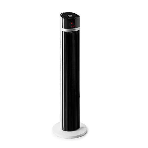 Klarstein IceTower - Standventilator, 36 Watt, Luftdurchsatz: 438 m³/h max, 3 Geschwindigkeitsstufen, 3 Modi: normal, natural und sleep, LED-Display, Schwenkmodus, programmierbarer, Timer, weiß