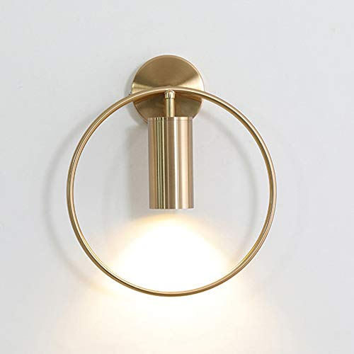 MGWA Luces de pared Oro/Negro Lámpara de pared Lámpara de cabecera de pared Dormitorio Simple Moderno Fondo creativo Lámpara de pared Sala Led Escalera Pasillo Lámparas 28 * 33 (cm) (Color: Dorado)