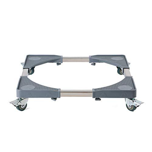 Base Ajustable Móvil Multifuncional Rectangular con 4 Ruedas Giratorias De Goma con Bloqueo Carro Telescópico para Muebles para Refrigerador, Secadora Y Lavadora