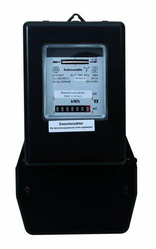 REV DREHSTROMZÄHLER – Made in Germany ǀ Strom-Messgerät zum Direktanschluss ǀ Stromzähler zur internen Energieverbrauchs-Kontrolle ǀ 3x230V/400V 10(40)A 50Hz ǀ ungeeicht ǀ Farbe: schwarz