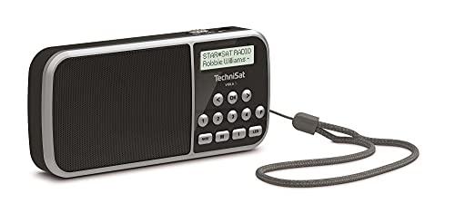 TechniSat VIOLA 3 – portables DAB Radio (DAB+, UKW, LCD Display, Kopfhöreranschluss, USB, Aux-In, LED Taschenlampe, Akku, Favoritenspeicher, klein, tragbar, 1 Watt RMS Lautsprecher) schwarz